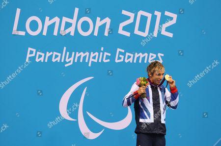 Jonathan Fox Wins Gold In The Mens 110m Backstroke August 30th.2012. Paralym Games 2012 Stratford London.aquatics Centre.
