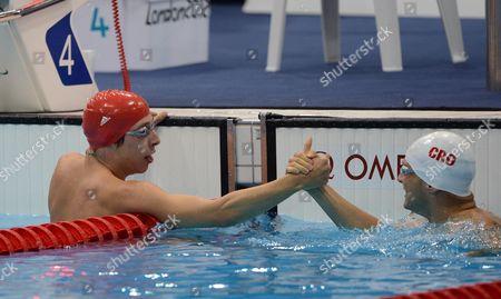 Jonathan Fox Wins Gold In The Mens 110m Backstroke With Silver Medlist Spanja Mihovil August 30th.2012. Paralym Games 2012 Stratford London.aquatics Centre.