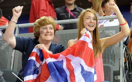 Mark Colbourne's Mother Margaret And Daughter Jessica Celebrate His Silver Medal. In The Velodrome.