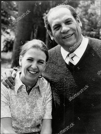 Stock Image of Edmundo Ros The Bandleader With His Wife Susan Barbara Smith Outside Their St Johns Wood Park Flat.