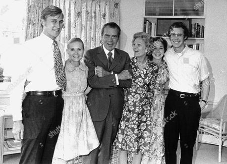 "Stock Picture of December 26, 1998 -- White House Photo from 7 August, 1974 of the Nixon Family prior to the President's announcement of his resignation. (L-R) Edward Cox; Tricia (Nixon) Cox; President Richard Nixon; Mrs. Richard Nixon (Patricia or ""Pat""); Julie (Nixon) Eisenhower; and David Eisenhower."