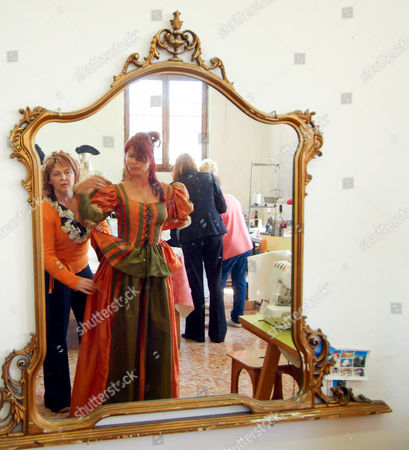Editorial photo of Katharina Miroslava working on costumes in Venice Prison, Venice, Italy - 18 Feb 2011