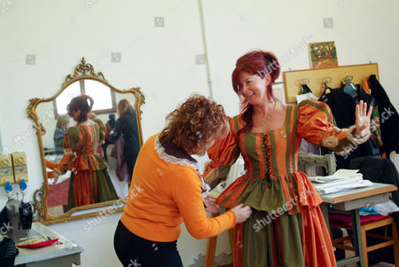 Editorial image of Katharina Miroslava working on costumes in Venice Prison, Venice, Italy - 18 Feb 2011