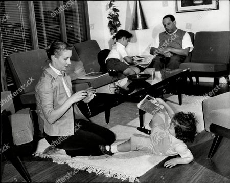 Bandleader Edmundo Ros At Home With His Wife Britt (now Mrs Carlos Camacho) And Their Children Douglas (6) And Louisa (2).