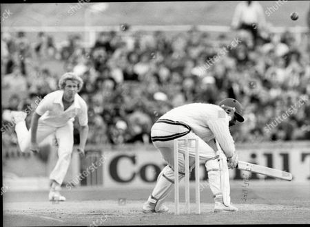 Cricket: West Indies Tour Of England 1980 - England V West Indies Third Test At Old Trafford - Andy Roberts Ducks A Bouncer From Graham Dilley.