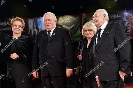 Lech Walesa and wife Danuta, with Andrzej Wajda and wife Krystyna Zachwatowicz