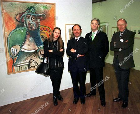 ANNE VALDESSAN, CURATOR OF THE EXHIBITION, CLAUDE PICASSO, JOHN HOOLE THE DIRECTOR OF THE GALLERY AND JOHN TUSA THE MANGING DIRECTOR OF THE GALLERY