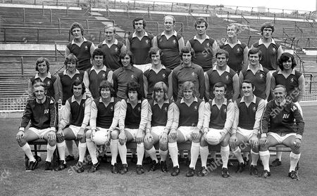 Stock Picture of Aston Villa football club team 1971. Top row Jimmy Brown, Ray Graydon, Lew Chatterley, Andy Lochhead, Malcolm Beard, Dave Gibson, Mick Wright. Middle row Dave Rudge, Lionel Martin, Charlie Aitken, Geoff Crudgington, Fred Turnbull, Tommy Hughes, George Curtis, Bruce Rioch, Willie Anderson. Front row Vic Crowe, Brian Tiler, Harry Gregory, Pat McMahon, Chico Hamilton, Neil Rioch, Keith Bradley, Geoff Vowden, Ron Wylie.