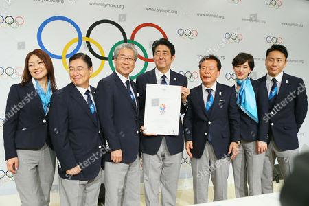 (L to R) Japanese delegation - Mami Sato, Masato Mizuno, Tsunekazu Takeda, Shinzo Abe, Naoki Inose, Christel Takigawa, Yuki Ota
