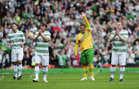 An emotional Stilyan Petrov in the 19th minute of the game after the referee stopped play in the charity football match for a minutes applause.