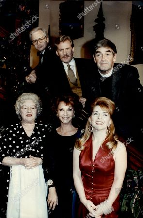 Television Programme 'cluedo'. Back L-r: Ian Lavender David Robb And Derek Nimmo Front L-r: Joan Sims Kate O'mara And Toyah Willcox.