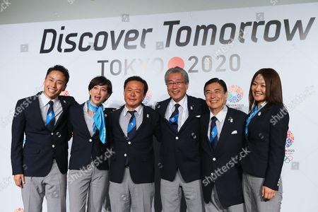 (L to R) Yuki Ota, Christel Takigawa, Naoki Inose, Tsunekazu Takeda, Masato Mizuno, Mami Sato