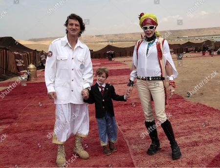Spanish explorer Kitin Munoz with his wife Princess Kalina of Bulgaria and their son Prince Simeon Hassan