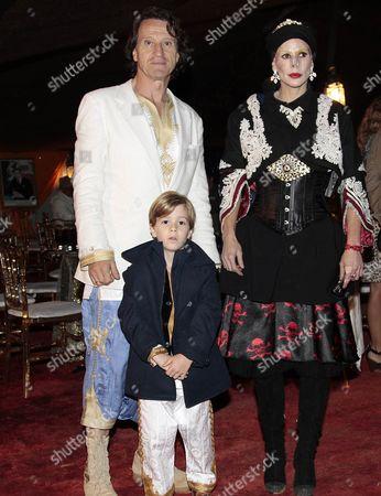 Spanish explorer Kitin Munoz with his wife Princess Kalina of Bulgaria and their son Prince Simeon Hassan during a dinner.