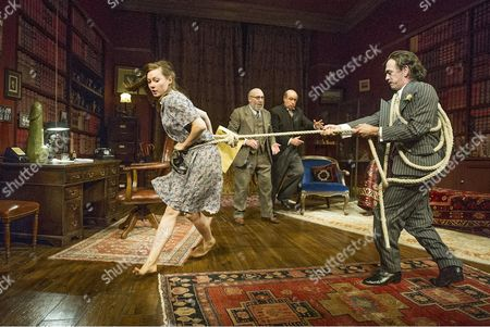 Lydia Wilson as Jessica, Antony Sher as Freud, David Horovitch as Yahuda and Adrian Schiller as Dali