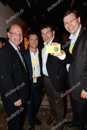 Florian Seiche VP Sales Nokia Europe, Conor Pierce VP and General Manager of Nokia UK & Ireland, Greig Williams GM Nokia Spain and guest