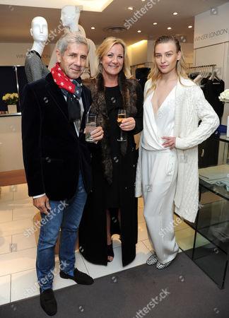 Sir Stuart Rose, Kim Winser and model wearing Winser London
