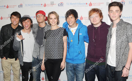 Stock Picture of Wesley Stromberg, Keaton Stromberg, Drew Chadwick, Bridgit Mendler, Austin Mahone, Ed Sheeran and Greyson Chance