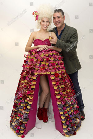 Jonathan Phang with model Amber wearing a Marie Antoinette-inspired dress made from cupcakes