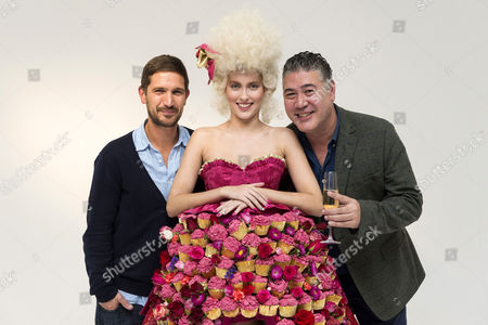 Andy Bates and Jonathan Phang with model Amber wearing a Marie Antoinette-inspired dress