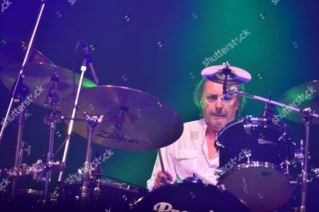 London, Britain - Drummer John Coghlan Of English Rock Group Status Quo Performing Live On Stage At Wembley Arena In London On March 17