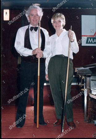 Female Snooker Champion Allison Fisher With Daily Mail Sports Writer Jeff Powell.