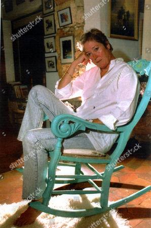 Susan Elliott (d. 4/2007) Widow Of Actor Denholm Elliott In Rocking Chair At Her Home In Ibiza 1992.