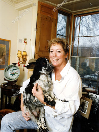 Editorial image of Susan Elliott (d. 4/2007) With Dog Widow Of Actor Denholm Elliott 1992.