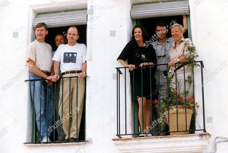 Ltor Guy Gillis Mervyn Watson Mark Shivas Verity Lambert (d. 11/2007) David Shanks And Julia Smith Bbc Executives On The Set Of Television Soap 'el Dorado' Spain 1992.