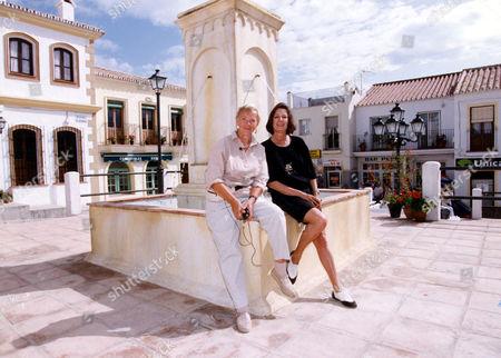Verity Lambert (d. 11/2007) Right And Julia Smith Bbc Executives On The Set Of Television Soap 'el Dorado' Spain 1992.