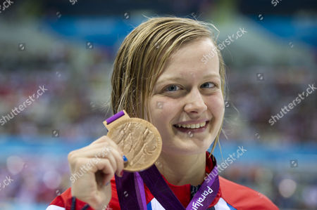 Gb's Hannah Russell With Her Bronze Medal In The Women's 100m Butterfly - S12. Paralympics 2 Sept. The Aquatics Centre Stratford.