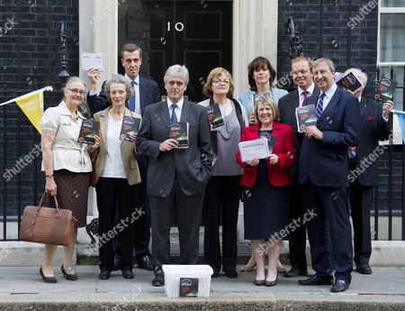 Picture Shows Campaigners And Mp's Including Andrew Selous Claire Perry Mark Garnier Fiona Mactaggart And David Burrows At Downing Street Today With A Petition Requesting A Block On Pornographic Websites.