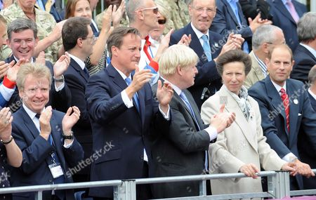 London Olympic Games 2012 Parade: An Emotional Prime Minister David Cameron (2nd Left With From Left To Right) Lord Moynihan Boris Johnson Princess Anne The Princess Royal And Prince Edward The Earl Of Wessex On The The Mall. In London Uk 10/09/2012.