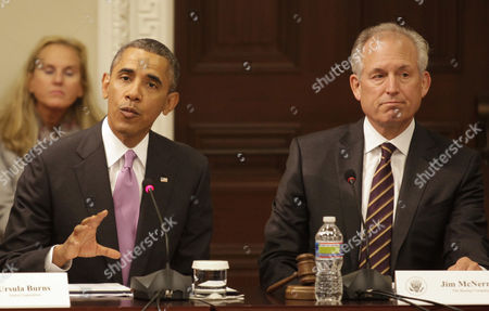 Stock Picture of United States President Barack Obama with James McNerney Jr, Chairman of the Board, President and CEO, Boeing Company