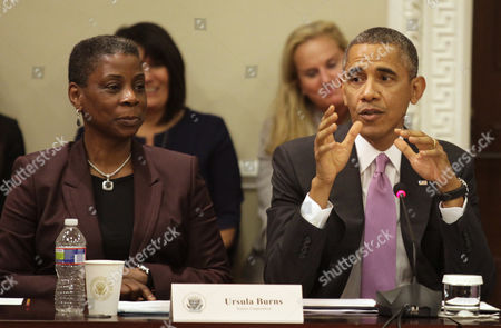 United States President Barack Obama and Ursula Burns, Chairwoman and CEO of Xerox.