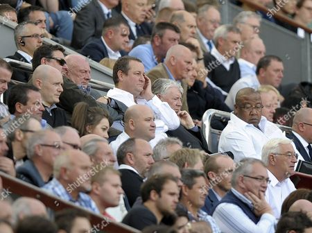 Owner Mike Ashley and Director of Football Joe Kinnear seem subdued in the directors box as Newcastle United lose at home to Hull City