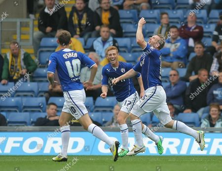 Chesterfield's Ritchie Humphreys celebrates scoring the opening goal