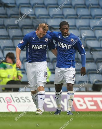 Chesterfield's Ritchie Humphreys celebrates scoring the opening goal with team-mate Chesterfield's Tendayi Darikwa