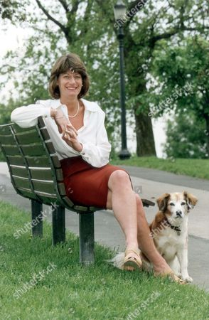 Clare Latimer Former Downing Street Caterer Here On Park Bench With Dog 1994. Pkt2466-169590.