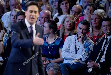 Steve Coogan and Feargal Sharkey watch Ed Miliband deliver his keynote speech