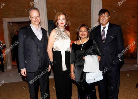 Stock Photo of Hans-Ulrich Obrist, Julia Peyton-Jones, Usha Mittal and Lakshmi Mittal