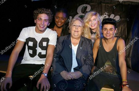 Sylvia Young with EverYoung -  (left to right) - Eyal Booker, Cherelle Williams, Sylvia Young, Hollie McKinlay and Jack Morlen