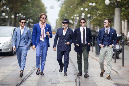 Fashionable Milanese Gentlemen - Frank Gallucci, Mararo Mrraro, Gianni Fontana, Tommaso Profazio and Frederico Lapo Bonini