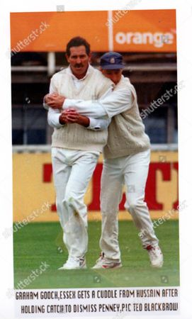 Graham Gooch Cricketer 1996. Safe Hands: Gooch Celebrates With Nasser Hussain. Graham Gooch Refuses To Give Up Hope Of Winning The Championship And Natwest Trophy Double. After Watching Warwickshire Drag Themselves Into A 15-run First-innings Lead The Former England Opener Hurried To An Unbeaten Half-century Off 77 Balls. He Was Dropped Twice On 22 By Dominic Ostler At Slip And On 38 By Tim Munton At Mid-on But The Pace Of His Run-making Made Up For The Time And Chances Essex Had Lost. Essex Who Meet Lancashire In The Natwest Final On Saturday Finished On 113 For One Nicley Poised For A Big Push For A Victory Which Is Essential If They Are To Keep In The Running For The Title. Their Biggest Stumblilng Block Yesterday Was Left-hander Wasim Khan Who Made 126 The Fourth First-class Century Of His Career. Khan Dropped The Previous Evening When He Was Only Four Took Charge After The First Ball Of The Day From Neil Williams Had Ostler Caught Behind And Left Warwickshire Stranded On 14 For Four. **original Print Held In Kensington** Pkt5408 395961.