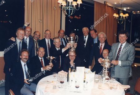 3rd Viscount Rothermere Vere Rothermere (5th Right) At The Awards Ceremony After The Northcliffe Golfing Society Intercompany Tournament At Hardelot In France With Jeff Powell 3rd Right And Stan Mcmurtry - Mac The Cartoonist 1st Left Back Row 1994.