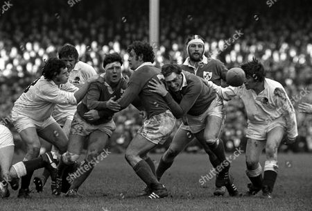 Players left to right; Mike Burton Alan Brinn Stewart McKinney Sean Lynch Willie John McBride Conleth Feighery and John Pullin England v Ireland 5 Nations Rugby Championship Twickenham 12/02/1972 Great Britain London 5 Nations Championship