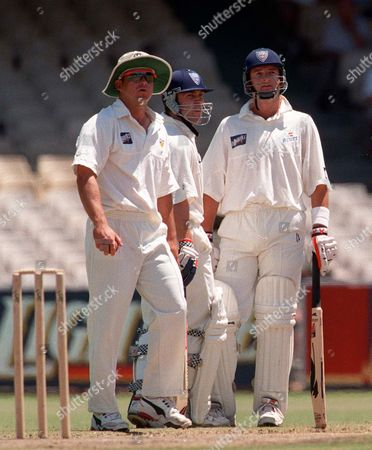 (Left to right) Shane Warne (Victoria) Michael Slaterand Mark Waugh (Sew South Wales) NSW v VICTORIA 22/12/98 SCG Sydney Australia Sydney