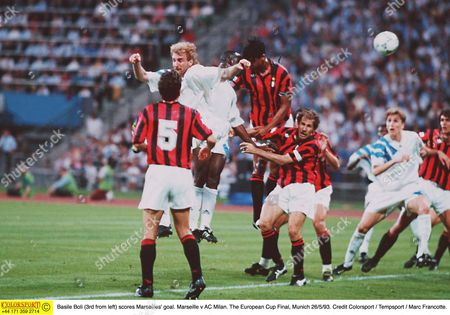 Basile Boli (3rd from left) scores Marseilles' goal Marseille v AC Milan The European Cup Final Munich 26/5/93 Germany Munich