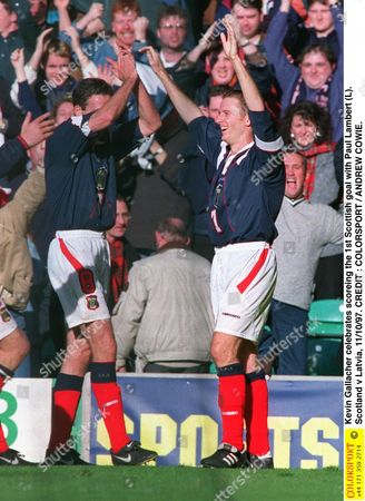 Kevin Gallacher celebrates scoreing the 1st Scottish goal with Paul Lambert (L) Scotland v Latvia 11/10/97 Great Britain Glasgow