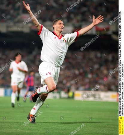 DANIELE MASSARO CELEBRATES SCORING GOAL NO 2 AC MILAN V BARCELONA 18/05/1994 EUROPEAN CUP FINAL Greece Athens